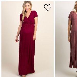 Dark red maxi maternity dress